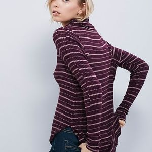 Free People Striped Drippy Thermal Sweater